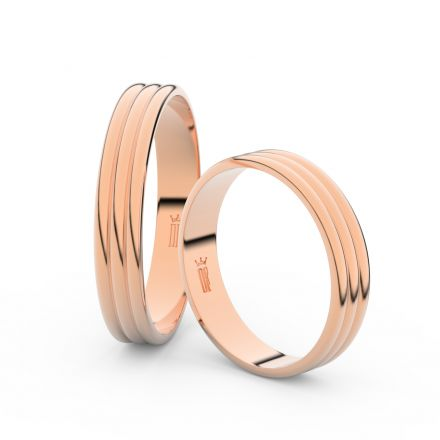 Snubní prsteny z růžového zlata, 4 mm, trojvlnný, pár - 4K37