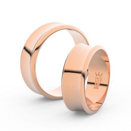 Snubní prsteny z růžového zlata, 6.65 mm, konkávní, pár - 5B70