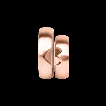 Snubní prsteny z růžového zlata, pár - 03