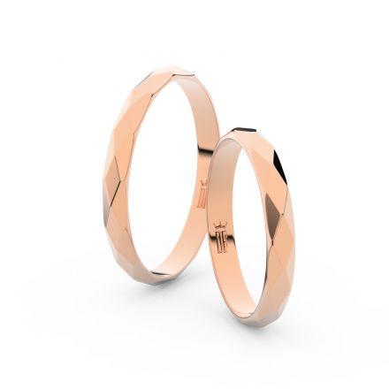 Snubní prsteny z růžového zlata, půlkulatý, pár - 8B30