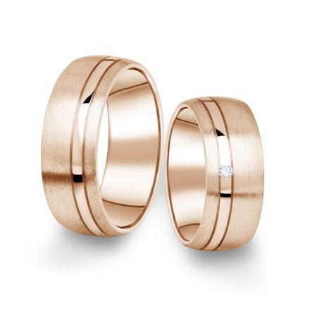 Snubní prsteny z růžového zlata s briliantem, pár - 18