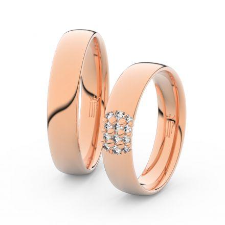Snubní prsteny z růžového zlata s brilianty, pár - 3020