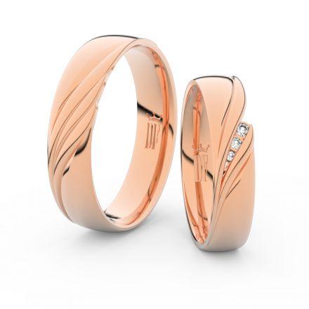 Snubní prsteny z růžového zlata s brilianty, pár - 3044