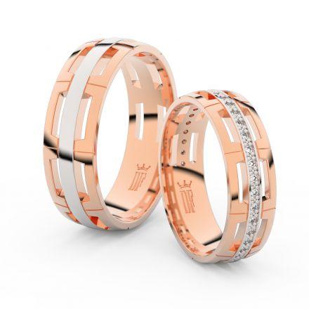 Snubní prsteny z růžového zlata s brilianty, pár - 3048