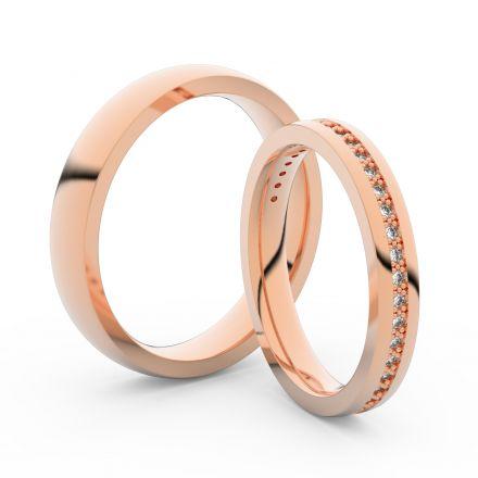 Snubní prsteny z růžového zlata s brilianty, pár - 3896