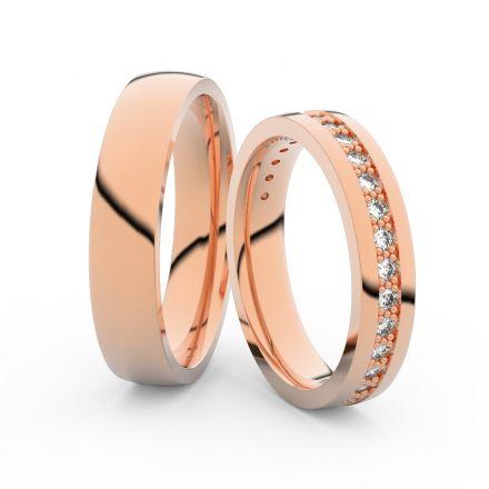 Snubní prsteny z růžového zlata s brilianty, pár - 3898