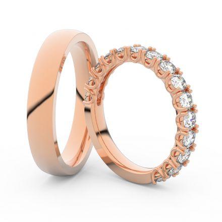Snubní prsteny z růžového zlata s brilianty, pár - 3904
