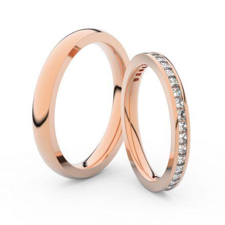 Snubní prsteny z růžového zlata s brilianty, pár - 3906
