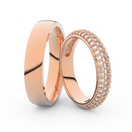 Snubní prsteny z růžového zlata s brilianty, pár - 3912