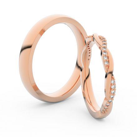 Snubní prsteny z růžového zlata s brilianty, pár - 3951