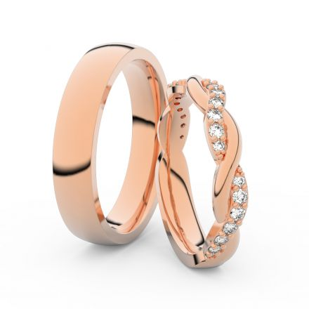 Snubní prsteny z růžového zlata s brilianty, pár - 3953