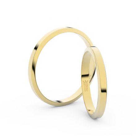 Snubní prsteny ze žlutého zlata, 2.3 mm, lichoběžný, pár - 4A25