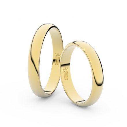 Snubní prsteny ze žlutého zlata, 3.5 mm, půlkulatý, pár - 2B35