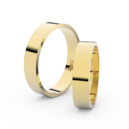 Snubní prsteny ze žlutého zlata, 4.5 mm, plochý, pár - 1G45