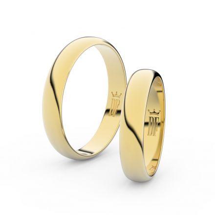 Snubní prsteny ze žlutého zlata, 4 mm, půlkulatý, pár - 2C40