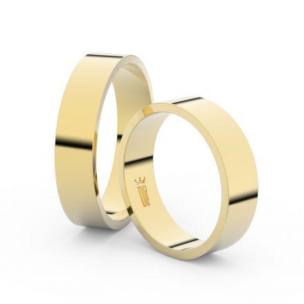 Snubní prsteny ze žlutého zlata, 5 mm, plochý, pár - 1G50