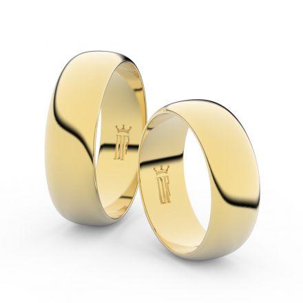 Snubní prsteny ze žlutého zlata, 6.5 mm, půlkulatý, pár - 3B65