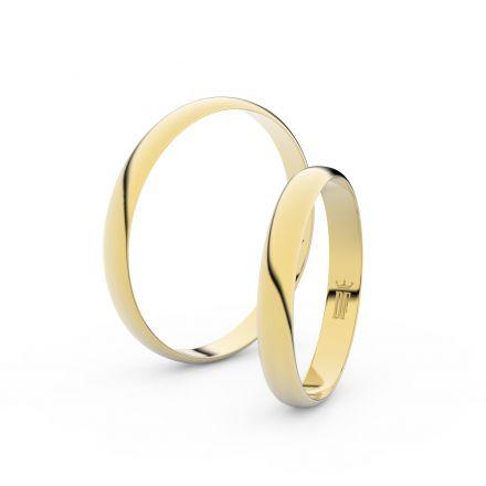 Snubní prsteny ze žlutého zlata, půlkulatý, pár - 4E30