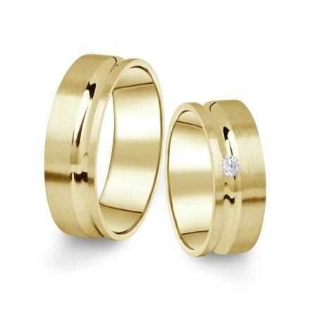 Snubní prsteny ze žlutého zlata s briliantem, pár - 07
