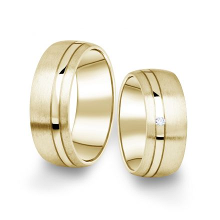 Snubní prsteny ze žlutého zlata s briliantem, pár - 18