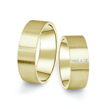 Snubní prsteny ze žlutého zlata s brilianty, pár - 17