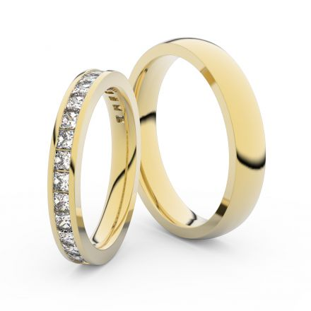 Snubní prsteny ze žlutého zlata s brilianty, pár - 3907