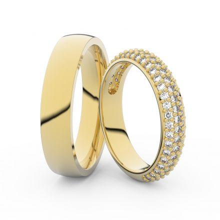 Snubní prsteny ze žlutého zlata s brilianty, pár - 3912