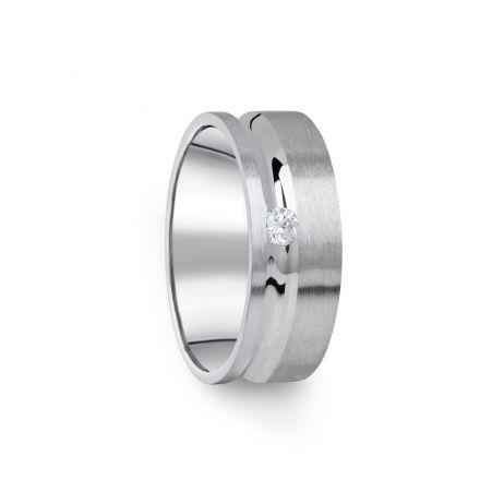 Zlatý dámský prsten DF 07/D z bílého zlata, s briliantem