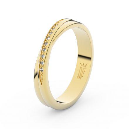 Zlatý dámský prsten DF 3019 ze žlutého zlata, s brilianty
