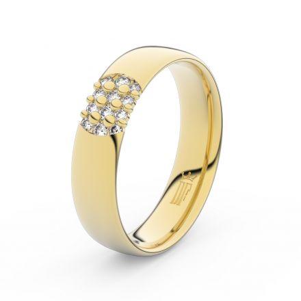 Zlatý dámský prsten DF 3021 ze žlutého zlata, s briliantem