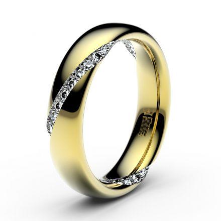 Zlatý dámský prsten DF 3028 ze žlutého zlata, s briliantem