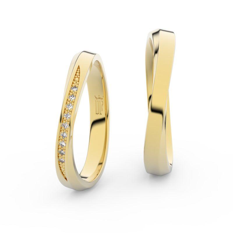 Snubní prsteny ze žlutého zlata s brilianty, pár - 3017
