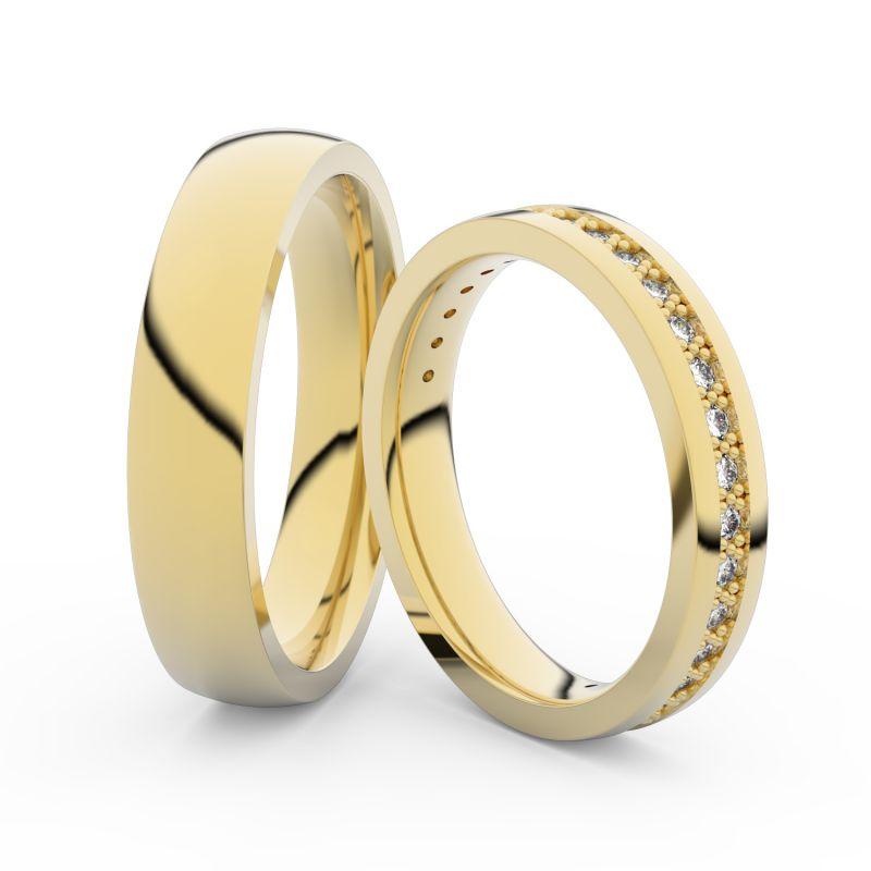 Snubní prsteny ze žlutého zlata s brilianty, pár - 3897