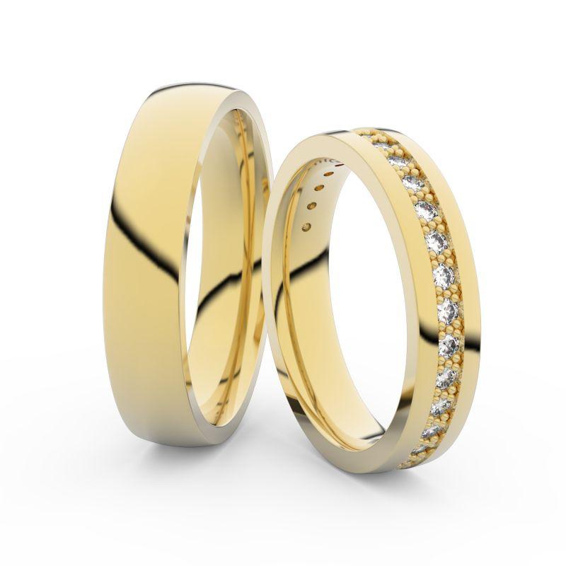 Snubní prsteny ze žlutého zlata s brilianty, pár - 3898