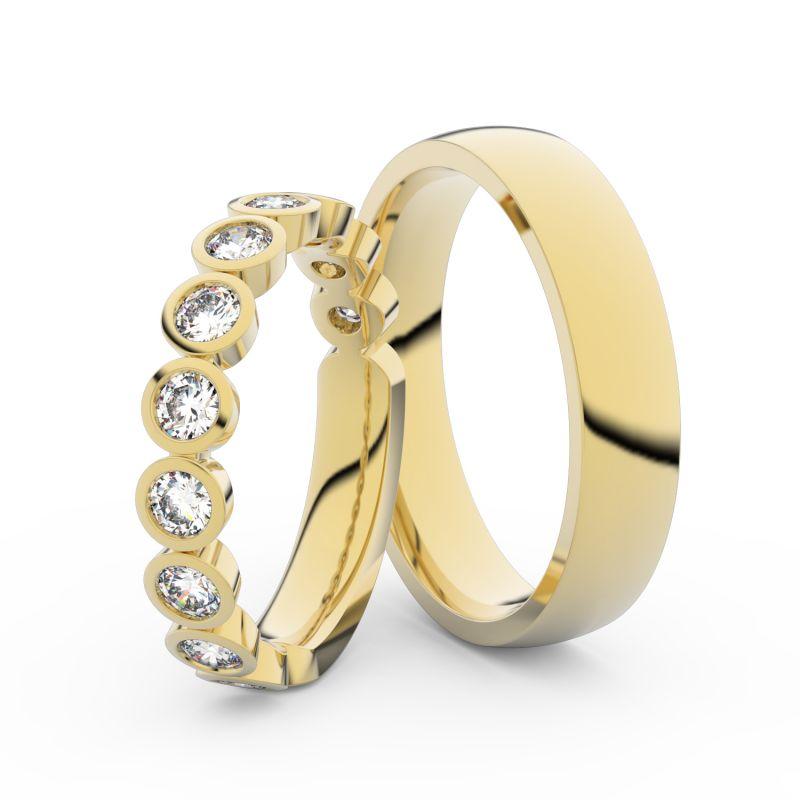 Snubní prsteny ze žlutého zlata s brilianty, pár - 3901