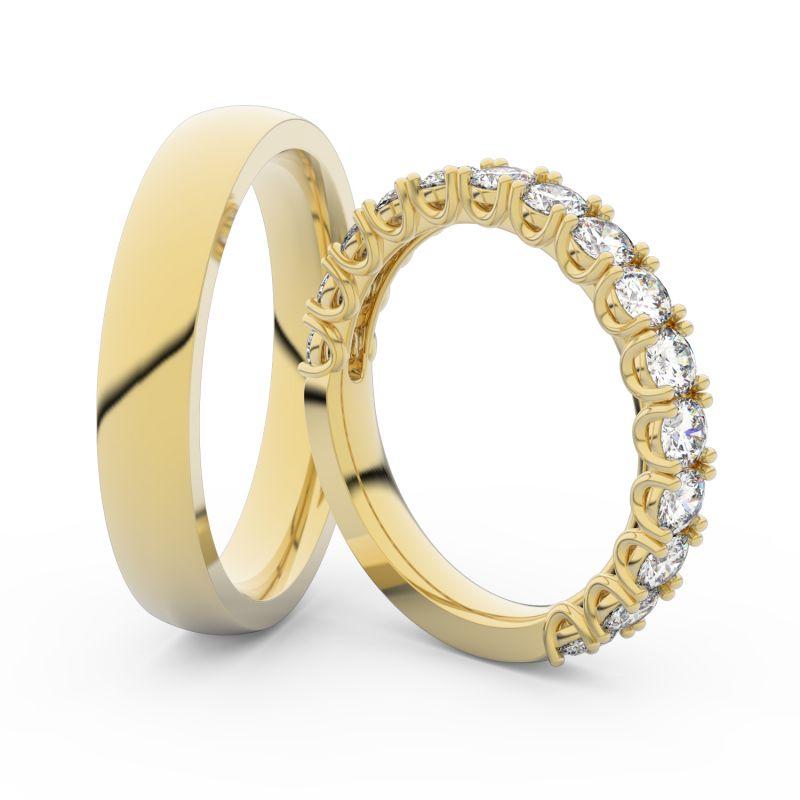 Snubní prsteny ze žlutého zlata s brilianty, pár - 3904