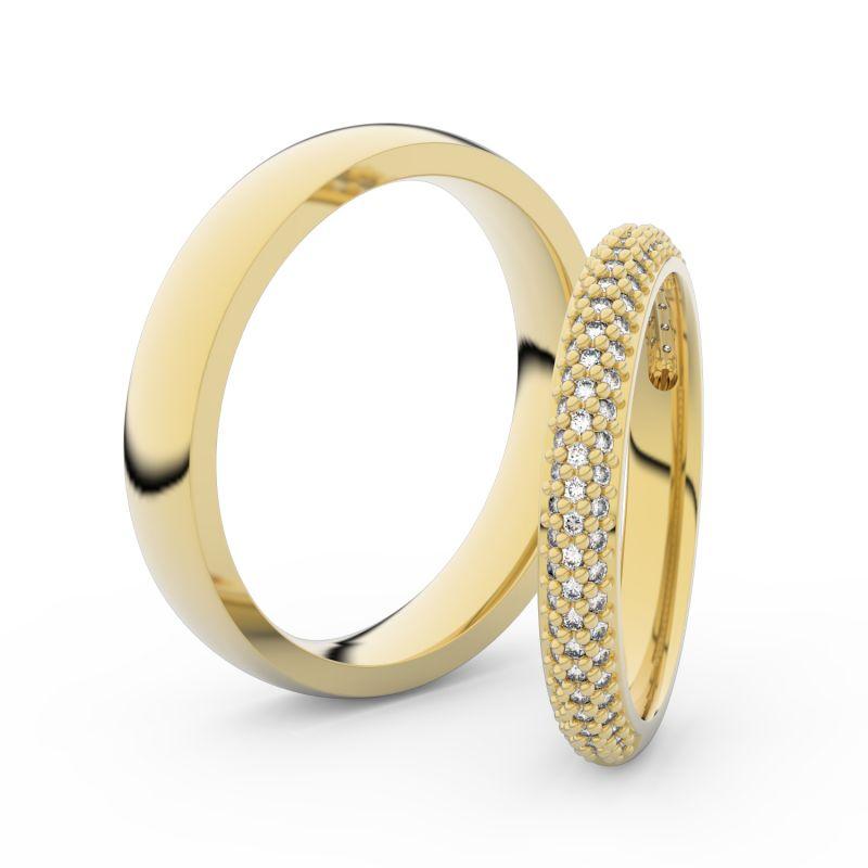 Snubní prsteny ze žlutého zlata s brilianty, pár - 3911