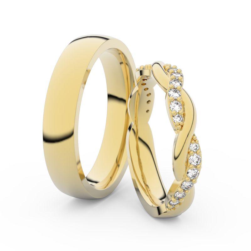 Snubní prsteny ze žlutého zlata s brilianty, pár - 3953