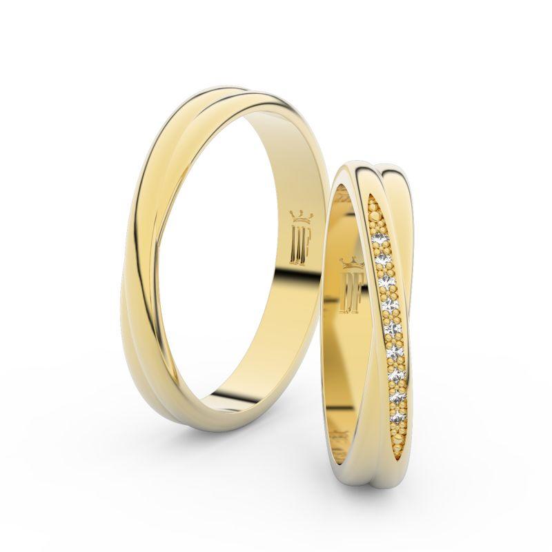 Snubní prsteny ze žlutého zlata se zirkony, pár - 3019