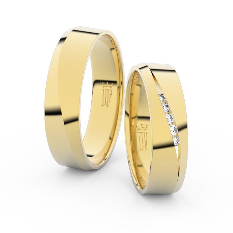 Snubní prsteny ze žlutého zlata se zirkony, pár - 3034