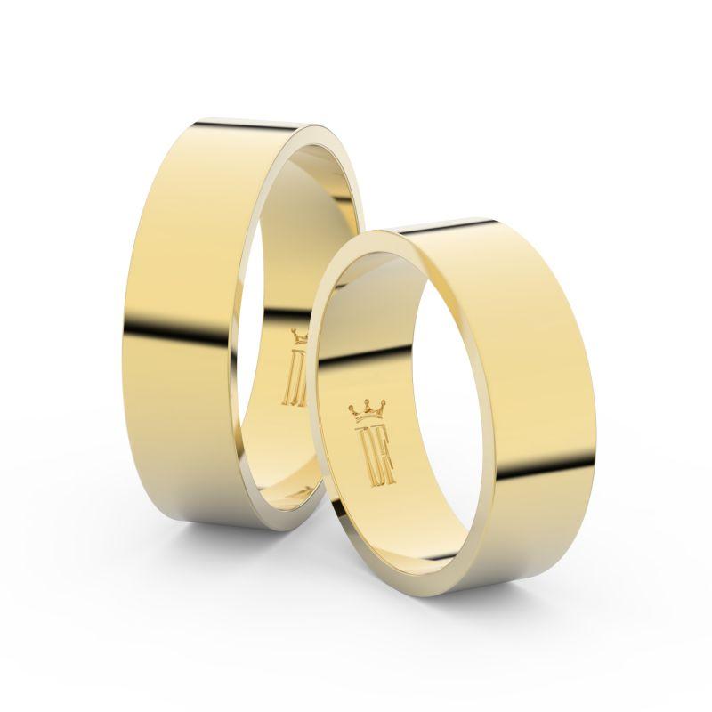 Snubní prsteny ze žlutého zlata, 6 mm, plochý, pár - 1G60