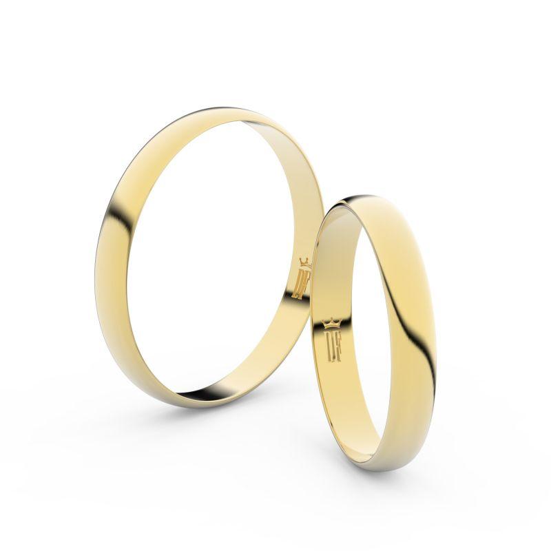 Snubní prsteny ze žlutého zlata, 3 mm, půlkulatý, pár - 4D30