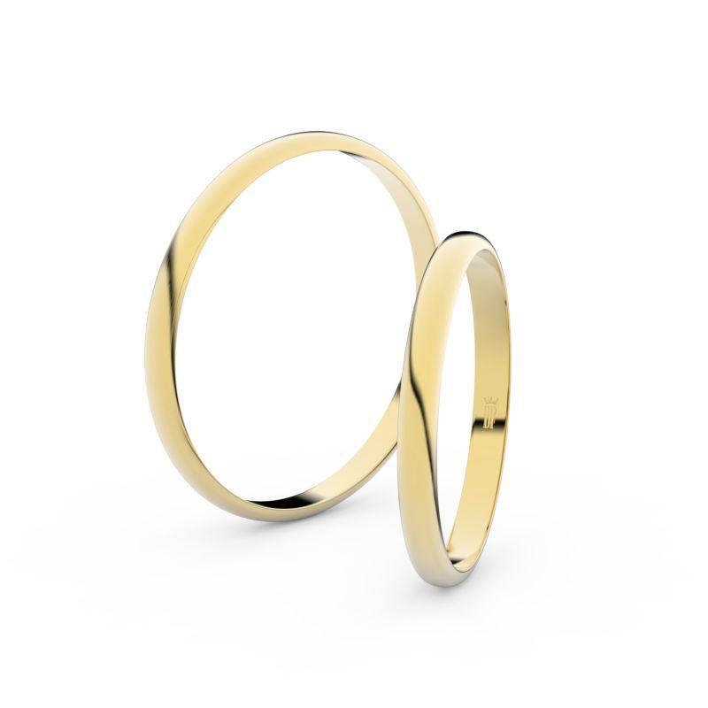 Snubní prsteny ze žlutého zlata, 2 mm, půlkulatý, pár - 4H20