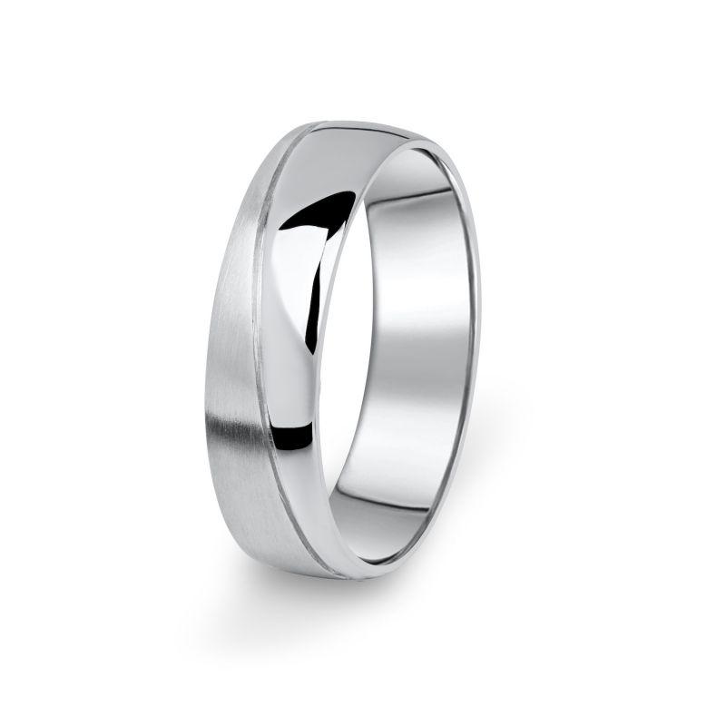 Prsten snubní Danfil DF01/P bílé zlato, bez kamene 46