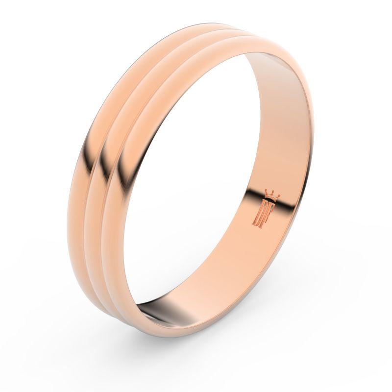 Zlatý snubní prsten Danfil FMR 4J47 z růžového zlata, bez kamene 46