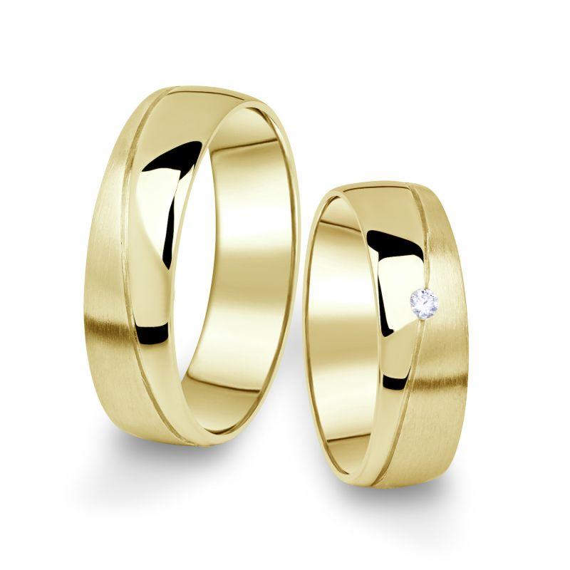 Snubní prsteny Danfil ze žlutého zlata s briliantem, pár - 01