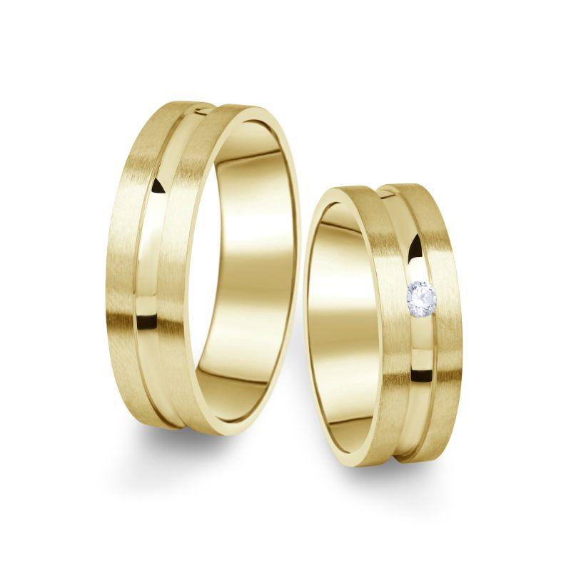Snubní prsteny Danfil ze žlutého zlata s briliantem, pár - 08