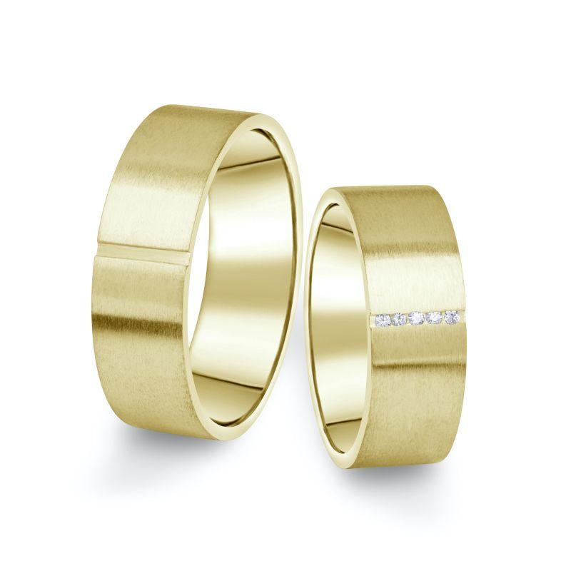 Snubní prsteny Danfil ze žlutého zlata s brilianty, pár - 17